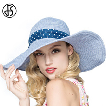 FS Womens Fashion Large Brim Floppy Summer Beach Sun Hat Foldable Blue Pink Bow Ribbon Straw Hat With Big Heads(China)