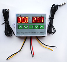 AC 220V 12V 24V Digital LED Dual Thermometer Temperature Controller Thermostat Incubator Control Microcomputer Dual Probe(China)