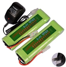 2x 8.4V NiMH 3800mAh Rechargeable Battery Pack Tamiya Plug + Charger - GREEN US/ EU/AU/UK Plug Adapter(China)
