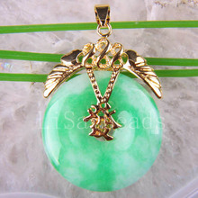 Free Shipping New New without tags Fashion Jewelry 30MM Flower Natural Green Jade Pendant 1Pcs RK523