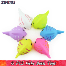6Pcs Mixed Colorful Fish Bath Toys Cute Sea Animal Soft Rubber Bathing Toy for Baby Bath Toy Squeeze Sound Squeaky Water Toys(China)