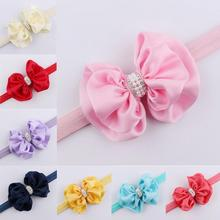 10 Color Girls Double Bow Rhinestone Headband Elastic Pearl Big Bow Knot Hair Band Pink/Red/Blue Princess Hair Accessories