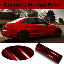 High Stretch Chrome Red Vinyl Wrap Full Car Wrapping Mirror Chrome Red Film Air Bubble Free Vehicle Covers Size:1.52*20M/Roll(China)