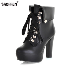 TAOFFEN Size 34-43 Women Faux Leather Ankle Boots Designer Fashion Platform Chunky High Heels Lace Up Short Botas Winter Shoes(China)