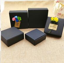 15 sizes Kraft paper Black Gift Packaging Box,black craft Handmade Soap Paper Box,small black cardboard paper packing box(China)