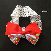 1 Pcs/lot Kawaii 3D Strawberry Headbands Fashion Girls Ribbon Bows Hairband Childrens Hair Accessories