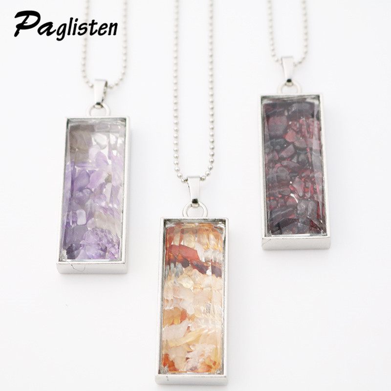 New Natural Fluorite Crystal Stone Beads Chip Clear Glass rectangle Wish Box Wishing Bottle Charms Pendant Necklace Jewelry(China (Mainland))