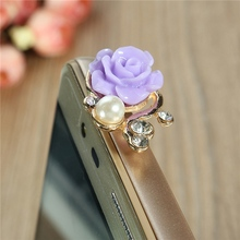 Phone Jack 4 PCS Resin Rose Blooming Flower Rhinestone Pearl Dustproof Dust Plug Headphone Strap For iPhone For Samsung(China)