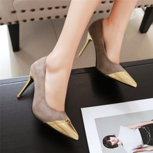 Red Bottom Solo Metal Pointed Toe High Heels High Quality Cow Suede Leather Footwear Women Ladies Party Dress Shoes Plus Size
