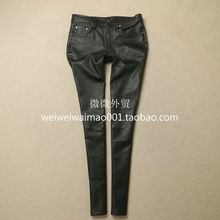 Hot Black Pencil Pants Full Length Sheepskin Leather Pants Genuine Leather Trousers Women High Quality Factory Price Free Ship(China)