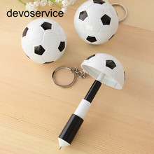 Creative Cute Soccer Modeling Ballpoint Pen Plastic Keychain Carrying Mini Telescopic Pen SchoolOffice Supplies Avertising Gifts(China)