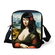 Colorful DIY Famous Person Printing Shoulder Bag Mona Lisa Cross Body Bag Messenger-Bag For Woman