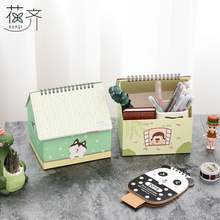 huaqi New 2018 creative house desk Calendar fresh Multifunction sticky notes calendar Desktop storage box school office supply(China)