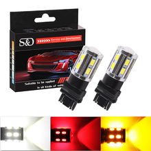 2Pcs 3157 3156 3057 3056 12 SMD LED Bulbs Cree Led Chip Car lamp rear brake Lights Source parking 12V Amber White Red D020