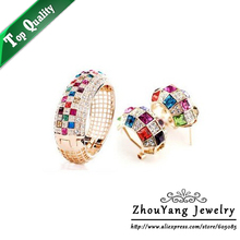 Top Quality ZYS074 Party Queen Rose Gold Color Jewelry Bangle Earring Set Rhinestone Made with Austrian Crystal Health