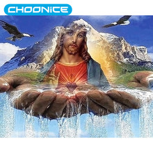 Jesus Sacred Heart Diamond Painting Scenery Hands Water flow Diamond embroidery icons religious DIY 3D Paintings Mosaic Drawings(China)