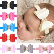 8pcs/lot Handmade Layer Rhinestone Pearl Satin Bow Headband With Elastic Hair Band For Girls Boutique Hair Accessory H121(China)