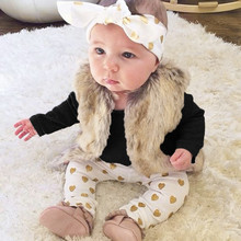 3Pcs Newborn Infant Gold Stamping Heart Pants + Headband + Bodysuit Tops Outfits Clothes Sets Long Sleeve Solid Baby Bodysuits(China)