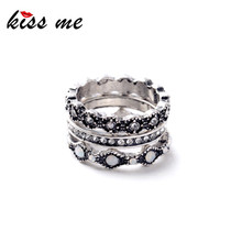 Ms Fashion Crazy Nightclub All Match Trio Color Ancient Silver Punk Rings Factory Wholesale 1.7cm(China)