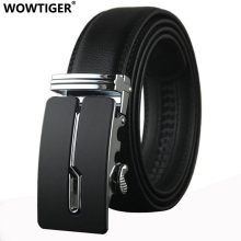 WOWTIGER Belt designer automatic buckle Cowhide Leather men luxury fashion Man business belts for men(China)