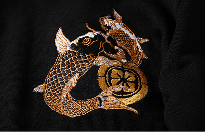Embroidery Japanese Koi Fish Hoodie Sweatshirt