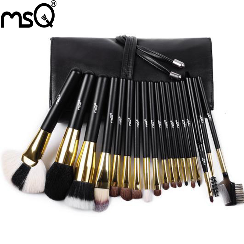 MSQ 18pcs Black Makeup Brushes Cosmetics Make Up Brush Kits Soft Animal Hair With PU Leather Case<br>