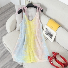2017 Women Sequined Straps Dress Vestido Summer Colorful Sequins Female Woman Casual Holiday Dresses