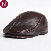 2017 Brand New style Men's Real Genuine Leather baseball Cap brand Newsboy /Beret Hat winter warm caps hats Cowhide cap