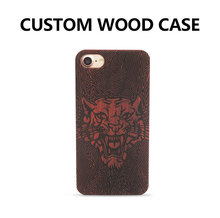 80 pcs LOGO customized for Retro Skull Head Flower Carving Wood Case for iPhone 7 7plus DIY Novetly Wooden Hard Case Cover(China)
