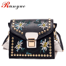 Fashion Women Leather Messenger Bag Flower Handbag Ladies Small Crossbody Bags Women Famous Brands Designers Shoulder Bags Girls(China)