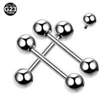 10 pcs/lot 14G G23 Titanium Internally Thread Tongue Ring Barbells Studs Nipple Shield Jewelry Cartilage Earrings Body Piercing(China)