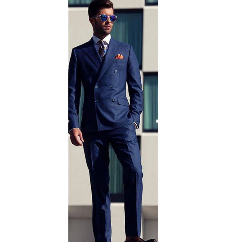Classic high-quality men's suit navy lapel double breasted groomsman dress and men prom dress (jacket + pants) custom made