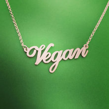 Vegan Jewelry Vegetarian Symbol Silver Plated Letters Vegan Necklace Vegan Lifestyle Gift Jewelry for women YLQ0530(China)
