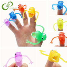10 pcs Dinosaur Finger Puppets Story Time Kids Funny Dinosaur Toys Pinata Party Favors Toy Plastic Puppets New-Color Assorted(China)