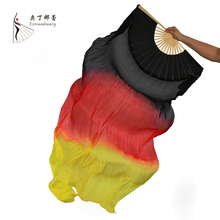 18 Colors Stage Performance Property Dance Fans 100% Silk Veils Colored 180cm Women Belly Dance Fan Veils (2 Pieces)(China)