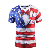 New Fashion T-shirt Men Women Fake Two Pieces 3D T-shirt Print American Flag Suit Jacket Tees Summer Tops T Shirt