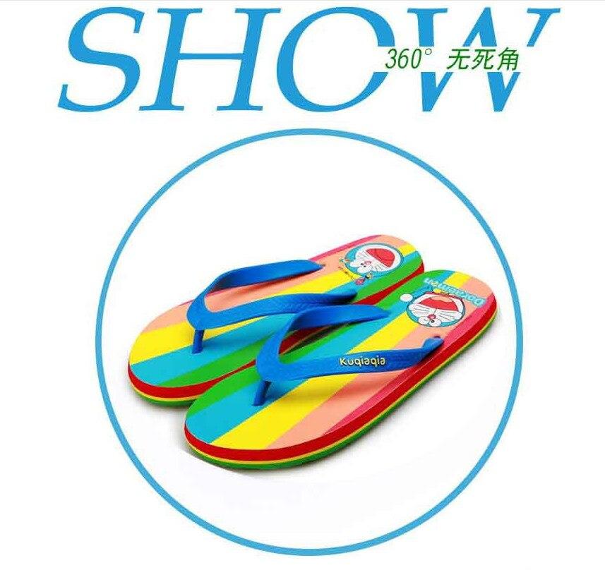 Doraemon Rainbow color Flat  beach shoes Non slip soles Flip Slippers comfortable EVA material Integral forming<br><br>Aliexpress