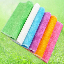 18*23cm High quality Efficient Anti-grease Color Dish Cloth Bamboo Fiber Washing Towel Magic Kitchen Cleaning Wiping Rags(China)