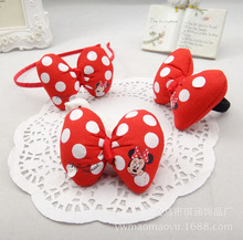 Mickey Minnie Bow Hairbands Korean Kids Hair Clips Hair Accessories Polka Dot Headdress Set Pearl Rubber Hair Band Scrunchy-f