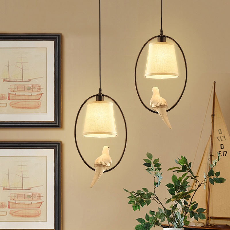 American country droplight Creative arts corridor restaurant bird pendant lamp, wrought iron bar bedroom single head<br>