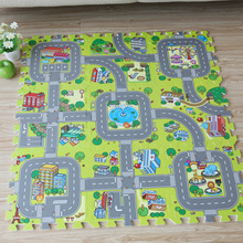 New! 9pcs Baby EVA foam puzzle play floor mat,City Road Education and interlocking tiles and traffic route ground pad (no edge)(China)