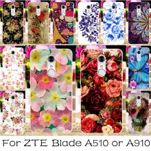 Silicone Phone Case For ZTE Blade A510 A 510 A910 A 910 BA910 BA910t Cover Colorful Flower Shell Housing Skin For ZTE a910 Case
