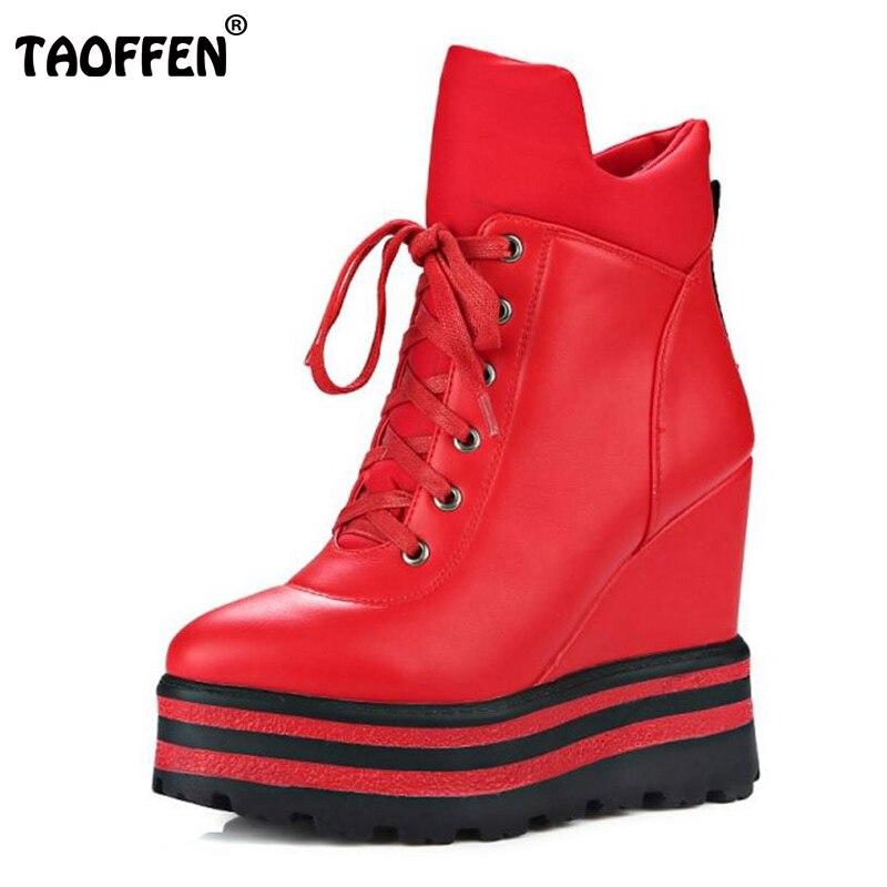 TAOFFEN Women Ankle Boots Platform Wedge High Heels Boots Winter Warm Zipper Female Autumn Boots Lady Shoes Size 34-39<br>