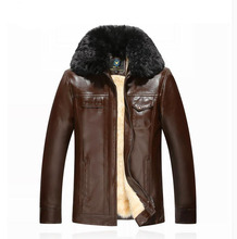 New men's leather jacket winter thick fur collar wool middle-aged leather PU coat coat jaqueta de couro masculina large size