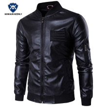 Buy Autumn Winter PU Leather Jacket Men Slim Black Stand Collar Jaqueta Couro Bomber Jacket Faux Motorcycle Leather Fur Coat for $57.56 in AliExpress store