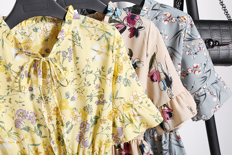 2018 Free Shipping New Fashion Floral Chiffon Summer Dresses Sweet Thin Word Slim Women Work Wear Print Dress Casual Cute Hot 10