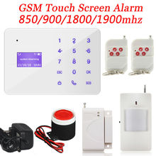 Wireless GSM Burglar Security Alarm Systems LCD Screen Touch Button For Home Built-in Loud speaker