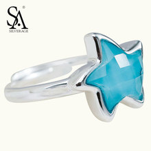 SA SILVERAGE 100% 925 Sterling Ring Silver Turquoise Star Rings Fine Jewelry For Women Girl Pure Silver S925 women Wedding Gift(China)
