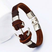 Men Genuine Leather Handmade Bracelet For Men Charm Jewelry Cowboy Style Punk Bracelets & Bangles Alloy Anchor Male Accessories