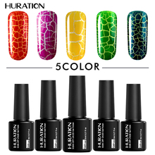 Huration Design Professional Gel Nail Polish Soak Off UV LED 8ml Crackle Shatter Varnish Lamp Nail Art Top And Base Gel(China)